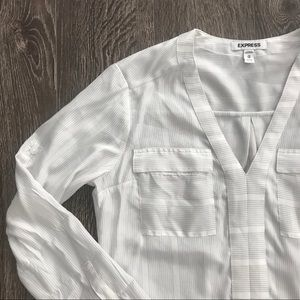 Express White with Grey Strip Blouse